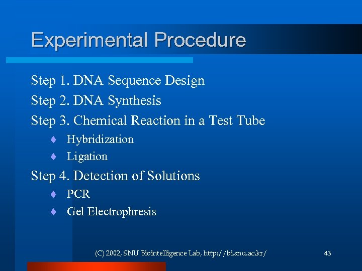 Experimental Procedure Step 1. DNA Sequence Design Step 2. DNA Synthesis Step 3. Chemical
