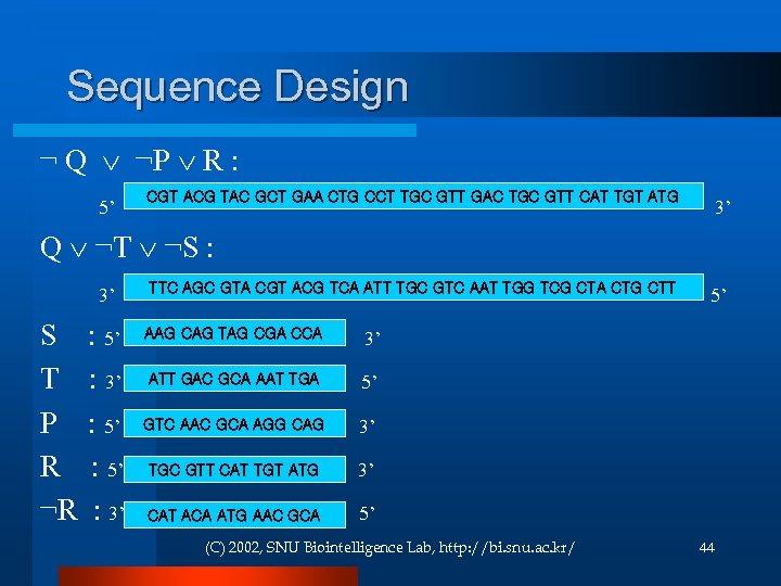 Sequence Design ¬ Q ¬P R : CGT ACG TAC GCT GAA CTG CCT