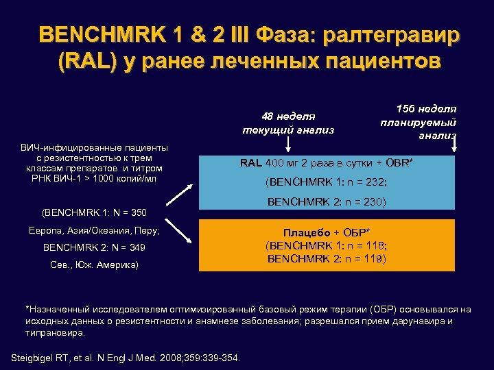 BENCHMRK 1 & 2 III Фаза: ралтегравир (RAL) у ранее леченных пациентов 48 неделя