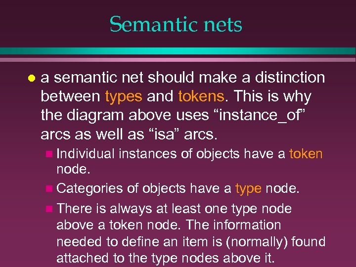 Semantic nets l a semantic net should make a distinction between types and tokens.