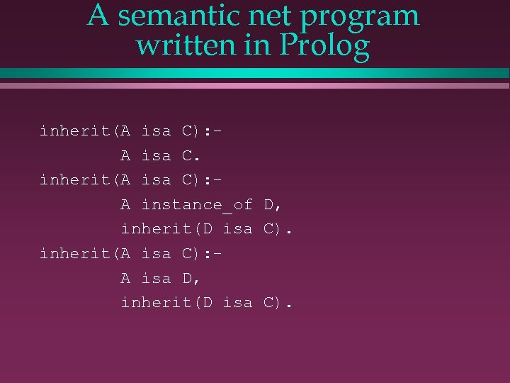 A semantic net program written in Prolog inherit(A isa C): A isa C. inherit(A