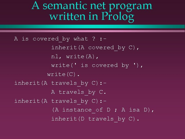 A semantic net program written in Prolog A is covered_by what ? : inherit(A