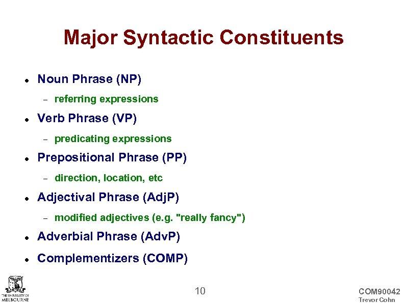 Major Syntactic Constituents Noun Phrase (NP) Verb Phrase (VP) predicating expressions Prepositional Phrase (PP)