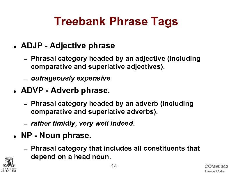 Treebank Phrase Tags ADJP - Adjective phrase Phrasal category headed by an adjective (including