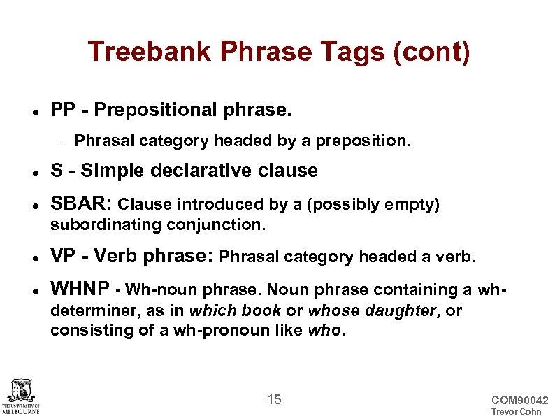 Treebank Phrase Tags (cont) PP - Prepositional phrase. Phrasal category headed by a preposition.