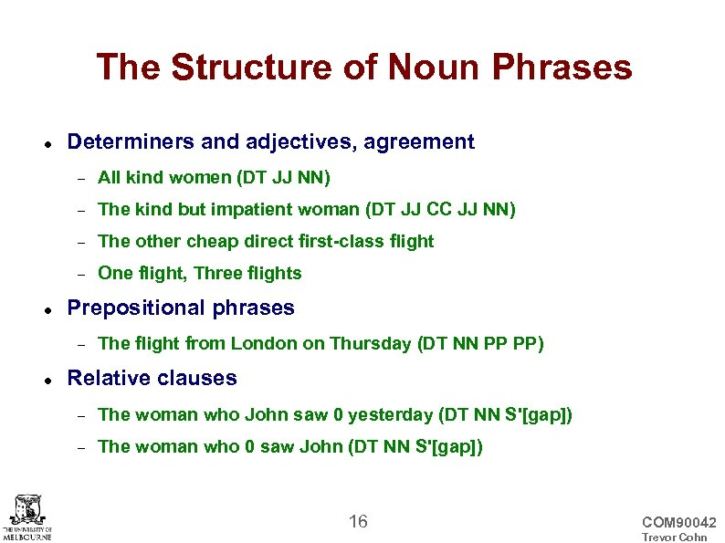 The Structure of Noun Phrases Determiners and adjectives, agreement The kind but impatient woman