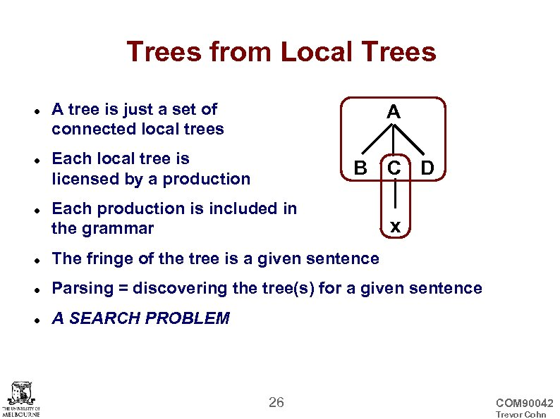 Trees from Local Trees A tree is just a set of connected local trees