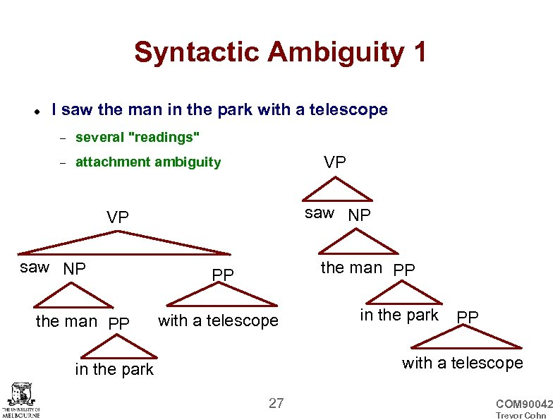 Syntactic Ambiguity 1 I saw the man in the park with a telescope several