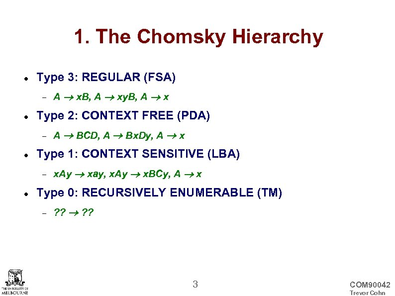 1. The Chomsky Hierarchy Type 3: REGULAR (FSA) Type 2: CONTEXT FREE (PDA) A