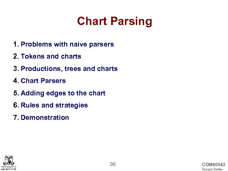 Chart Parsing 1. Problems with naive parsers 2. Tokens and charts 3. Productions, trees