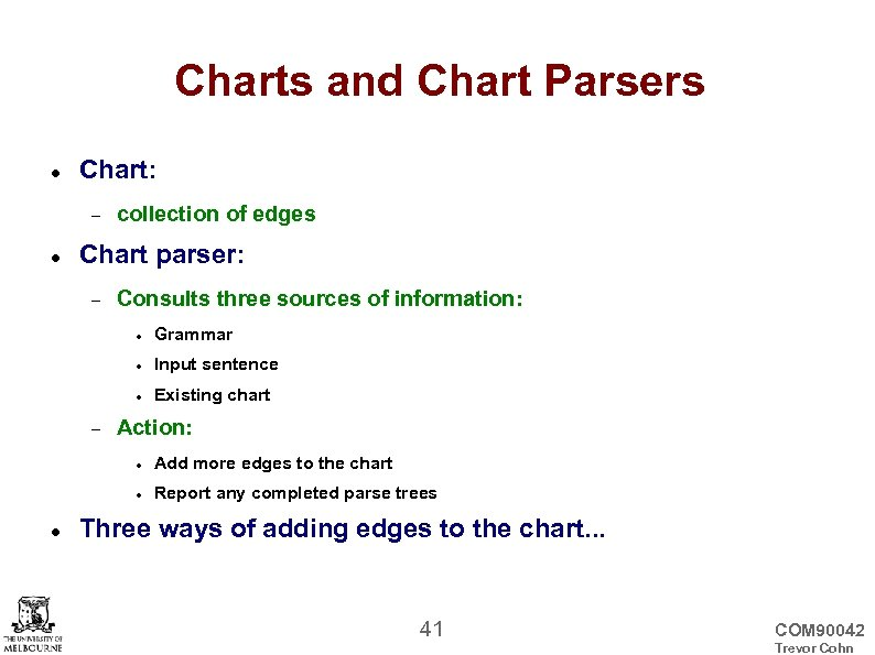 Charts and Chart Parsers Chart: collection of edges Chart parser: Consults three sources of