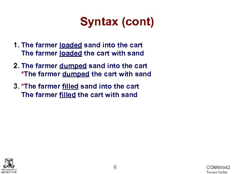 Syntax (cont) 1. The farmer loaded sand into the cart The farmer loaded the