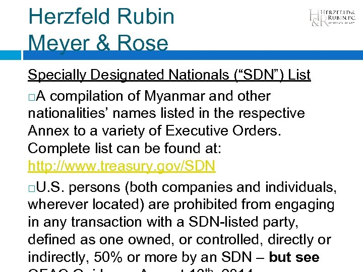 "Herzfeld Rubin Meyer & Rose Specially Designated Nationals (""SDN"") List A compilation of Myanmar"