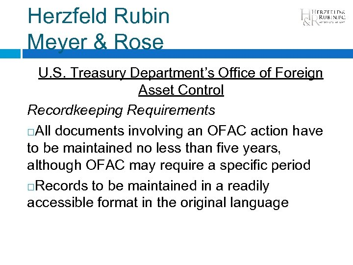 Herzfeld Rubin Meyer & Rose U. S. Treasury Department's Office of Foreign Asset Control