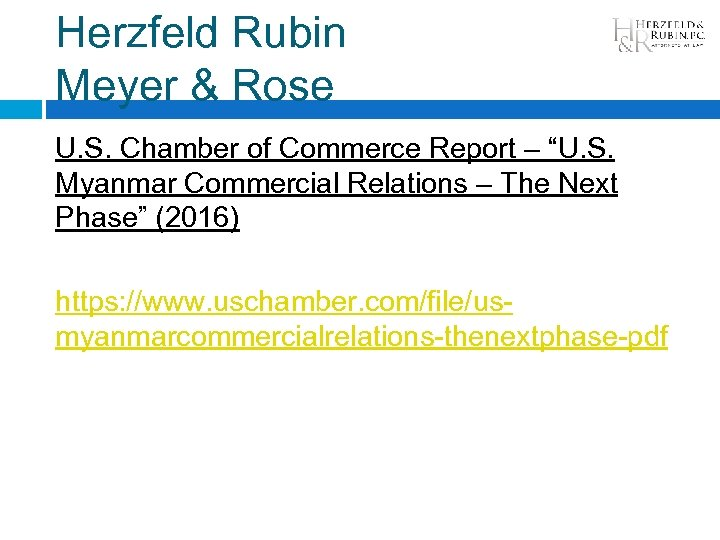 "Herzfeld Rubin Meyer & Rose U. S. Chamber of Commerce Report – ""U. S."