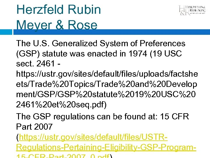 Herzfeld Rubin Meyer & Rose The U. S. Generalized System of Preferences (GSP) statute
