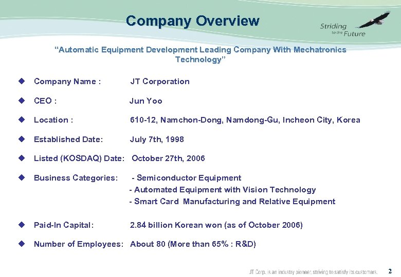 "Company Overview ""Automatic Equipment Development Leading Company With Mechatronics Technology"" u Company Name :"