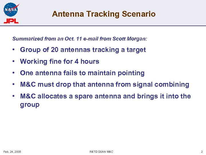 Antenna Tracking Scenario Summarized from an Oct. 11 e-mail from Scott Morgan: • Group