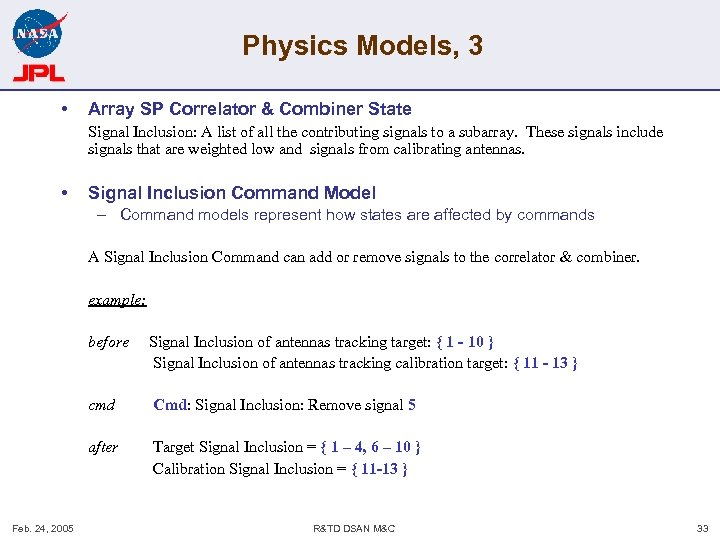 Physics Models, 3 • Array SP Correlator & Combiner State Signal Inclusion: A list