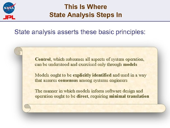 This Is Where State Analysis Steps In State analysis asserts these basic principles: Control,