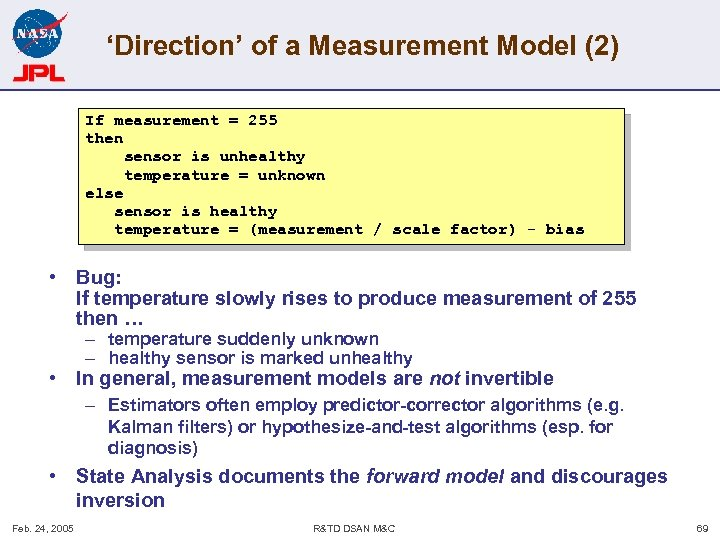 'Direction' of a Measurement Model (2) If measurement = 255 then sensor is unhealthy