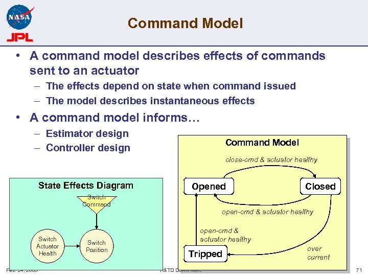Command Model • A command model describes effects of commands sent to an actuator