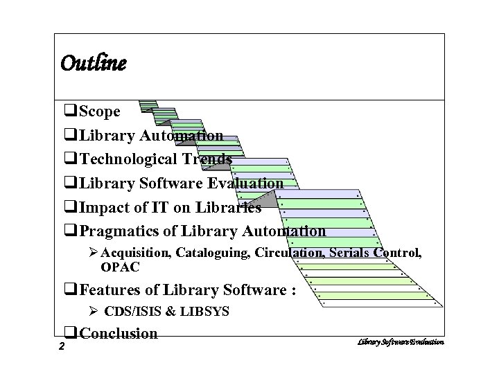 Outline q. Scope q. Library Automation q. Technological Trends q. Library Software Evaluation q.