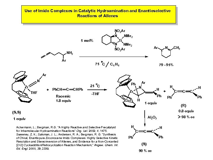 Use of Imido Complexes in Catalytic Hydroamination and Enantioselective Reactions of Allenes SO 2