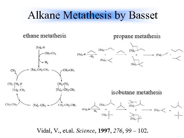 Alkane Metathesis by Basset ethane metathesis propane metathesis isobutane metathesis Vidal, V. , et.