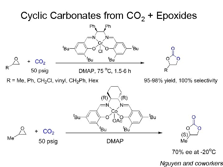 Cyclic Carbonates from CO 2 + Epoxides Nguyen and coworkers
