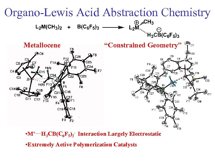"""Organo-Lewis Acid Abstraction Chemistry Metallocene """"Constrained Geometry"""" • M+. . . H 3 CB(C"""