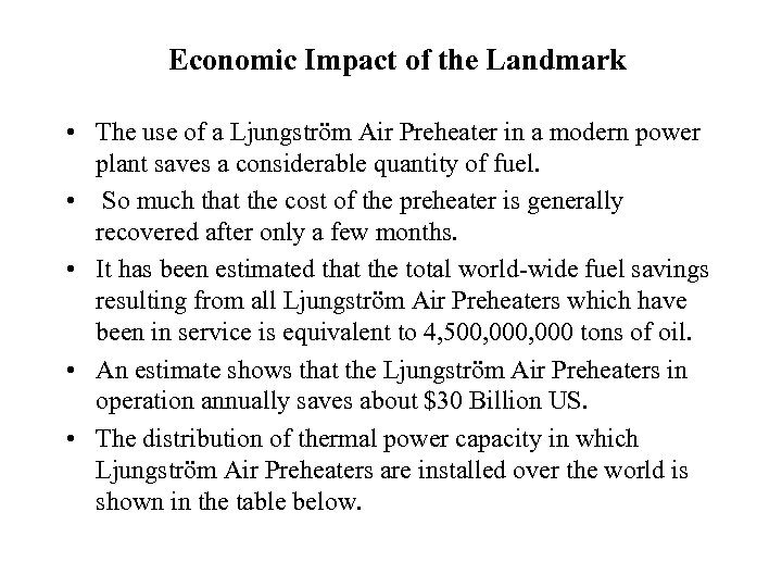Economic Impact of the Landmark • The use of a Ljungström Air Preheater in