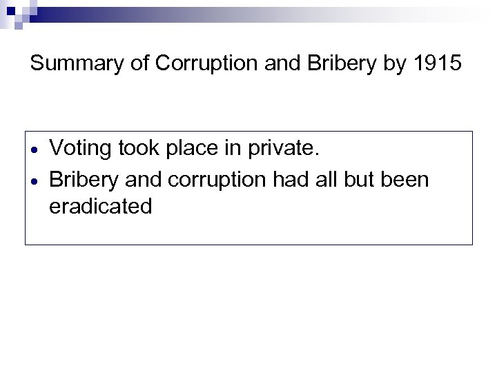 Summary of Corruption and Bribery by 1915 Voting took place in private. Bribery and