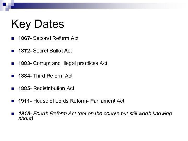 Key Dates n 1867 - Second Reform Act n 1872 - Secret Ballot Act