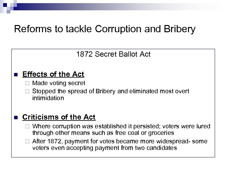 Reforms to tackle Corruption and Bribery 1872 Secret Ballot Act n Effects of the