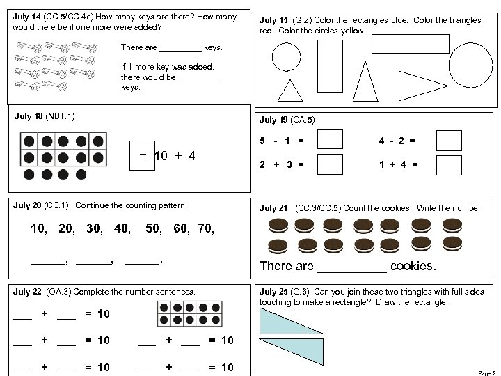 July 14 (CC. 5/CC. 4 c) How many keys are there? How many would