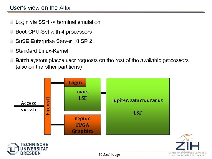 User's view on the Altix Login via SSH -> terminal emulation Boot-CPU-Set with 4