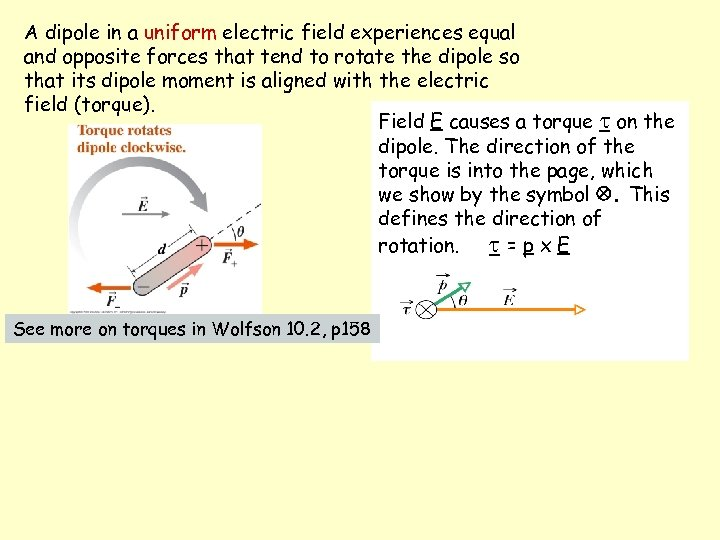 A dipole in a uniform electric field experiences equal and opposite forces that tend