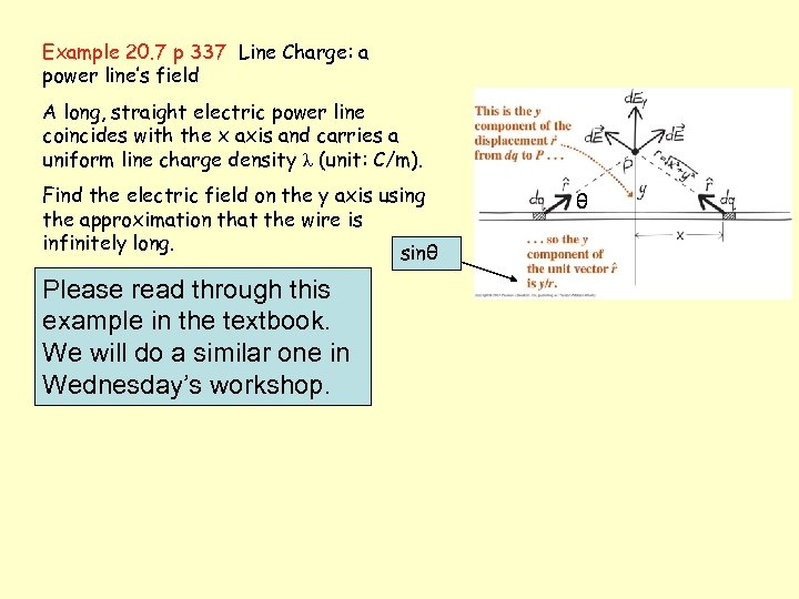 Example 20. 7 p 337 Line Charge: a power line's field A long, straight