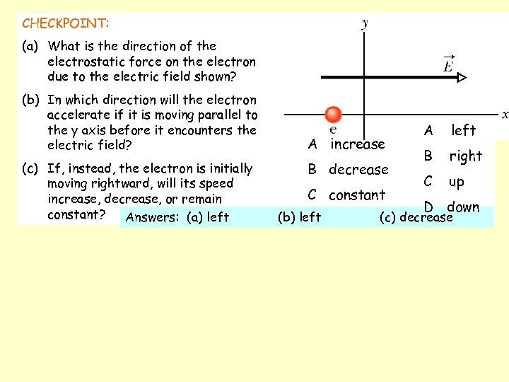 CHECKPOINT: (a) What is the direction of the electrostatic force on the electron due