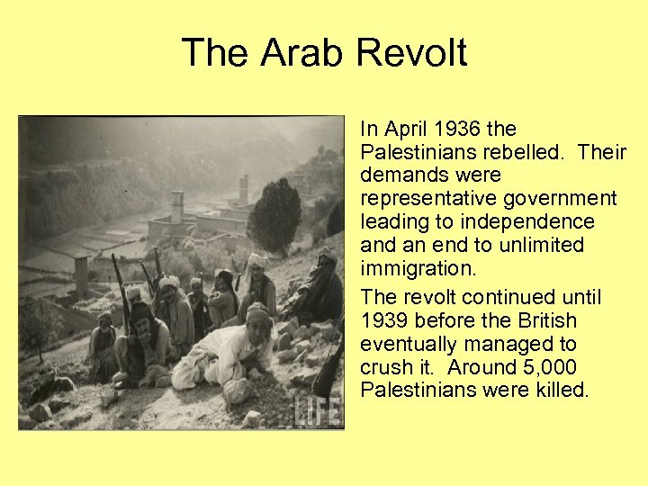 The Arab Revolt • In April 1936 the Palestinians rebelled. Their demands were representative