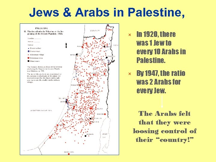 Jews & Arabs in Palestine, 1920 × In 1920, there was 1 Jew to