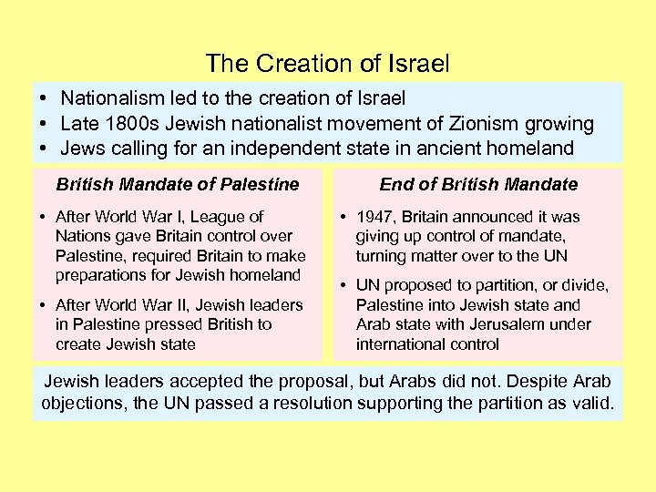 The Creation of Israel • Nationalism led to the creation of Israel • Late