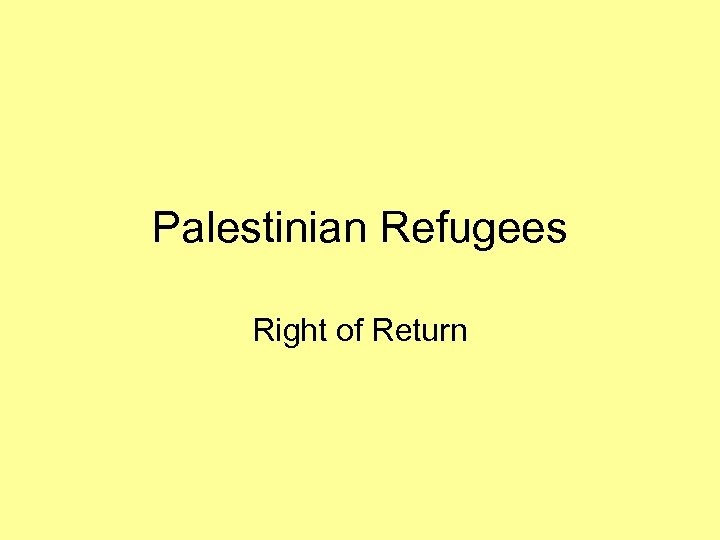 Palestinian Refugees Right of Return