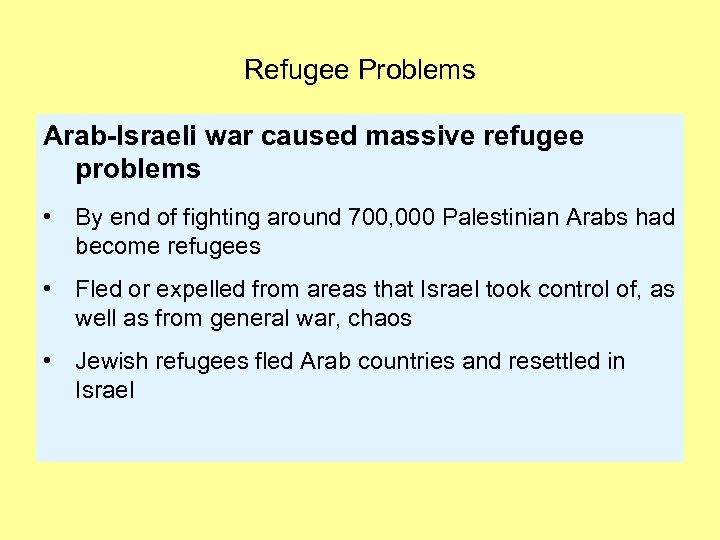 Refugee Problems Arab-Israeli war caused massive refugee problems • By end of fighting around