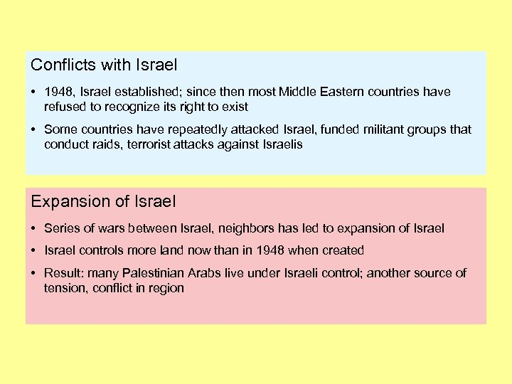 Conflicts with Israel • 1948, Israel established; since then most Middle Eastern countries have