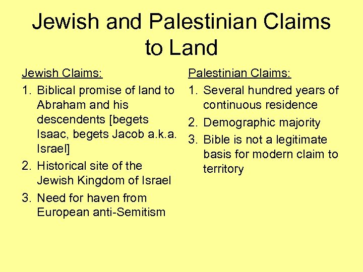 Jewish and Palestinian Claims to Land Jewish Claims: 1. Biblical promise of land to
