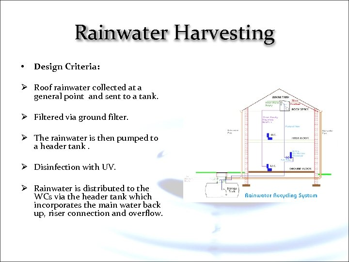 Rainwater Harvesting • Design Criteria: Ø Roof rainwater collected at a general point and