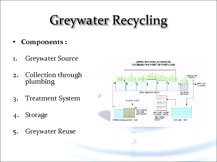 Greywater Recycling • Components : 1. Greywater Source 2. Collection through plumbing 3. Treatment
