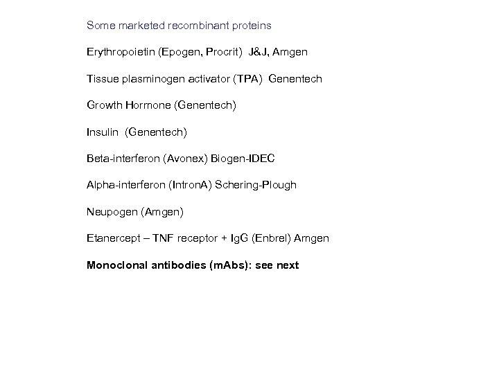 Some marketed recombinant proteins Erythropoietin (Epogen, Procrit) J&J, Amgen Tissue plasminogen activator (TPA) Genentech